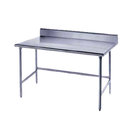 "Advance Tabco TSKG-2410 Work Table, 120""W x 24""D, 16 gauge 430 stainless steel top with 5""H backsplash, stainless steel legs with side & rear crossrails"
