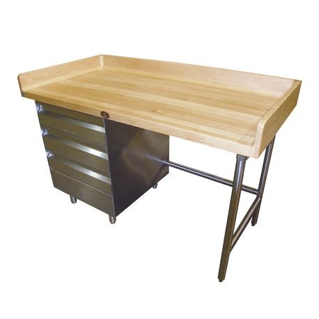 "Advance Tabco BGT-305L Bakers Top Work Table, 60""W x 30""D, 1-3/4"" thick wood top with 4"" splash at rear & both sides, (3) tiers of drawers on left"