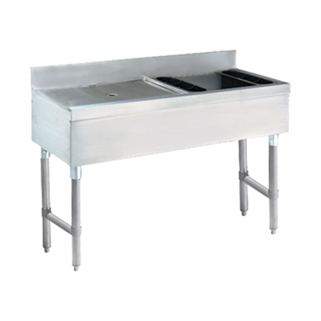 "Advance Tabco CRW-4R-7 Underbar Basics Ice Bin & Drainboard Combo Units, 48""W x 21""D x 31-1/4""H, 24""W x 8"" deep Ice bin with 7-circuit cold plate & 1"""