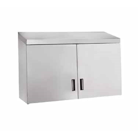 "Advance Tabco WCH-15-72 Cabinet, wall mount, enclosed design with (4) hinged doors, 72""W x 15""D, with single intermediate shelf, 18/430 stainless steel"