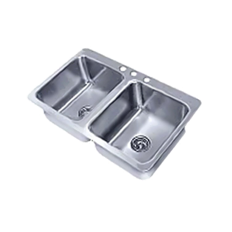 "Advance Tabco SS-2-4521-12 Smart Series Drop-In Sink, 2-compartment, 20"" wide x 16"" front-to-back x 12"" deep each/bowl, 18 gauge 304 series stainless"