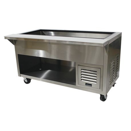 "Advance Tabco HDRCP-3-BS Refrigerated Cold Pan, 47-1/8""W x 35-7/8""D x 35""H (overall), accommodates (3) 12"" x 20"" pans up to 6-1/4"" deep, with additional"