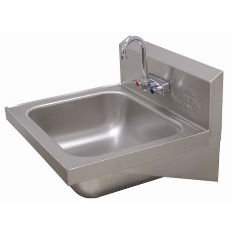 "Advance Tabco 7-PS-45 Hand Sink, wall model, 20"" wide x 16"" front-to-back x 8"" deep bowl, 18 gauge 304 series stainless steel, splash mounted gooseneck"