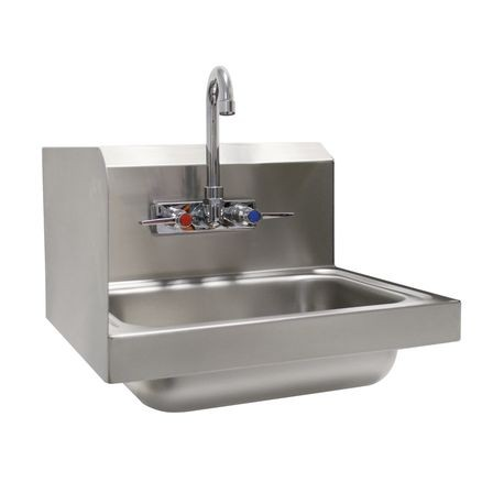 "Advance Tabco 7-PS-66L Hand Sink, wall model, 14"" wide x 10"" front-to-back x 5"" deep bowl, 20 gauge 304 series stainless steel, 7-3/4"" high left side"