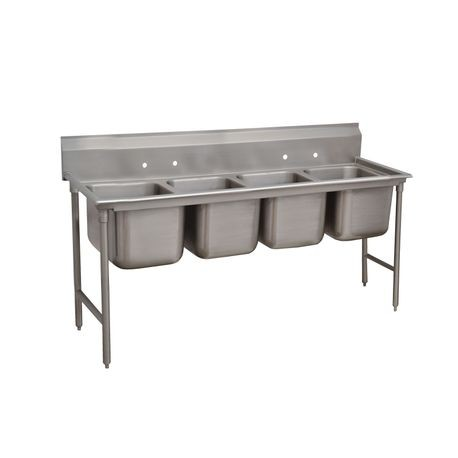"Advance Tabco 94-24-80 Regaline Sink, 4-compartment, 20"" front-to-back x 20"" wide sink compartments, 14"" deep, with 11"" high splash, stainless steel legs"