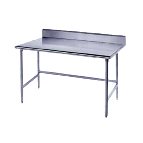"Advance Tabco TKAG-3612 Work Table, 144""W x 36""D, 16 gauge 430 stainless steel top with 5""H backsplash, galvanized legs with side & rear crossrails"