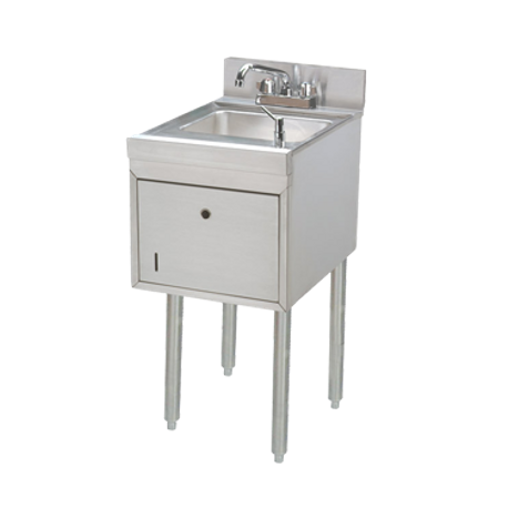 "Advance Tabco SC-15-TS-X Underbar Basics Hand Sink, free standing, 15""W x 21""D x 33""H O.A., 9W x 9D x 4 deep sink bowl, includes: faucet with 4"" O.C."