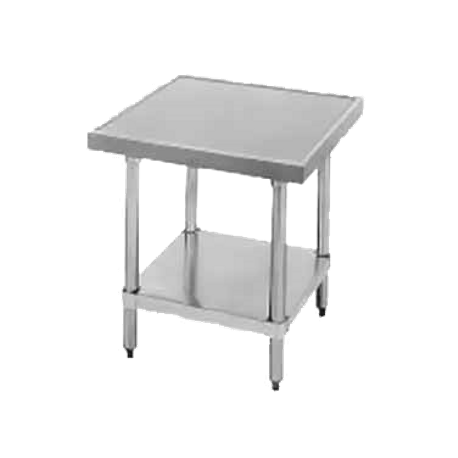 "Advance Tabco AG-MT-303-X Budget Equipment Stand, 36""W x 30""D x 24""H, 430 series stainless steel top, galvanized adjustable undershelf, galvanized legs"
