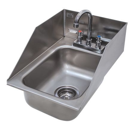 "Advance Tabco DI-1-10SP Drop-In Sink, 1-compartment, 10"" wide x 14"" front-to-back x 10"" deep bowl, 6"" tapered side & rear splashes, 20 gauge 304 series"