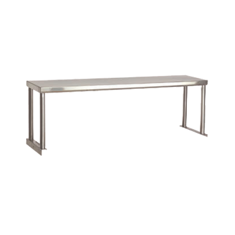 "Advance Tabco STOS-5-18 Food Table Overshelf, single, 77-3/4""W x 18""D x 15-1/8""H, 18 gauge stainless steel shelf, stainless steel posts with mounting"