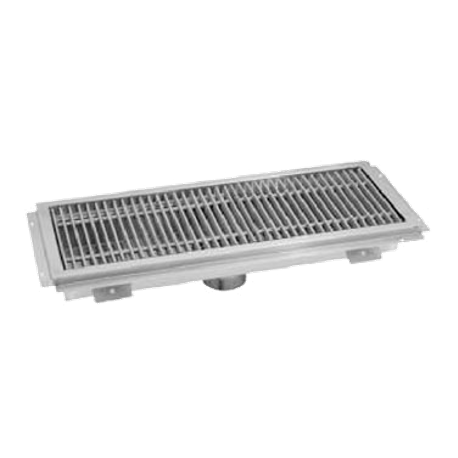 "Advance Tabco FRG-48 Floor Water Receptacle, 12"" wide, 48"" long, 2"" depth, 14 gauge 304 series stainless steel, includes stainless steel subway grating"