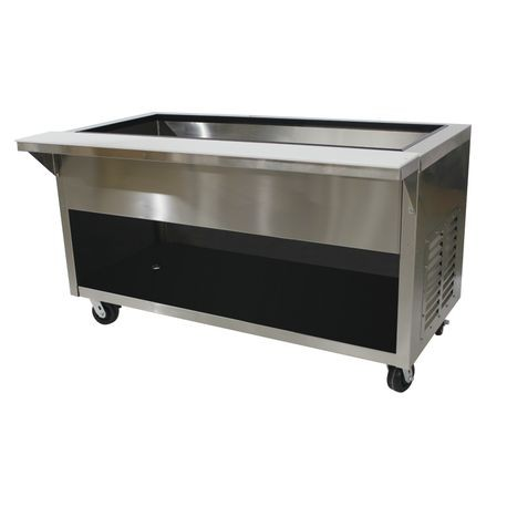"Advance Tabco HDCPU-4-BS Heavy Duty Ice Cooled Serving Counter, 62-1/2""W x 36-1/8""D x 35""H, accommodates (4) 12"" x 20"" pans inserts up to 6-1/4"" deep"