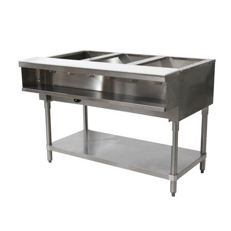 "Advance Tabco WB-3G-LP-X Water Bath Hot Food Table, LP gas, 47-1/8""W x 22-5/8""D x 34-1/8""H, (3) 12"" x 20"" well openings (accommodates pan inserts up to"