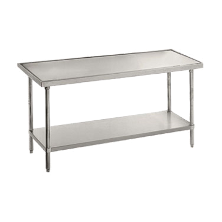 "Advance Tabco VLG-486 Work Table, 72""W x 48""D, 14 gauge 304 series stainless steel top, with countertop non drip edge, adjustable galvanized undershelf"