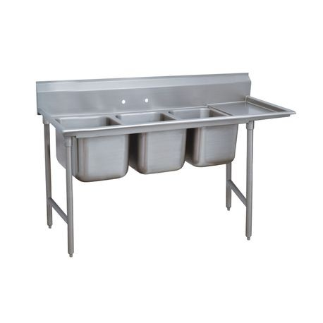 "Advance Tabco 9-83-60-18R Regaline Sink, 3-compartment, with right-hand drainboard, 28"" front-to-back x 20""W sink compartments, 12"" deep, with 8""H"