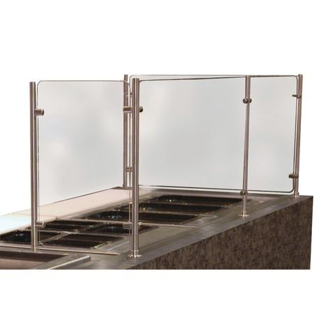 "Advance Tabco SGCC-144 Vertical Food Shield, 144"" wide, height as specified (24"" maximum), 3/8"" heat tempered glass front & 1/4"" thick side panels (bottom"