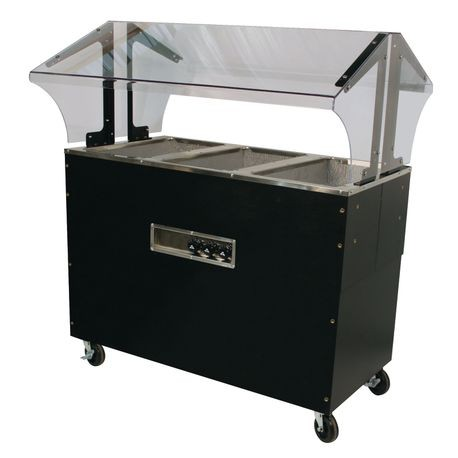 "Advance Tabco B3-240-B-SB Portable Hot Food Buffet Table, electric, 47-1/8""W x 35""D x 53""H, double sided sneeze guard, (3) 12"" x 20"" galvanized wells"