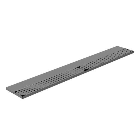 "Advance Tabco DRKR-36 Bar Drink Rail, 36W x 8""D x 3/4""H, (1) perforated removable top grate, 1"" drain with 1/8 FPT outlet on right end, 18/300 stainless"