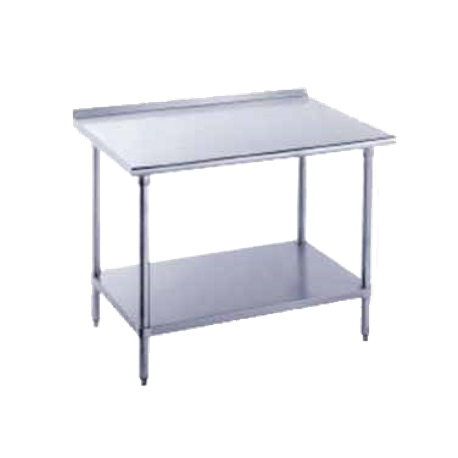 "Advance Tabco FAG-3612 Work Table, 144""W x 36""D, 16 gauge 430 series stainless steel top with 1-1/2""H rear upturn, 18 gauge galvanized adjustable"