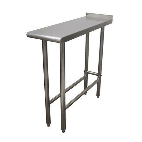 "Advance Tabco TFMS-120-X Equipment Filler Table, 12""W x 30""D, 16 gauge 304 series stainless steel top with 1-1/2"" rear upturn, stainless steel legs"