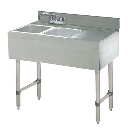 "Advance Tabco CRB-42L Underbar Basics Sink Unit, 2-compartment, 48""W x 21""D x 33""H overall, 4""H backsplash, (2) 10""W x 14""D x 10"" deep, Deep Drawn sink"