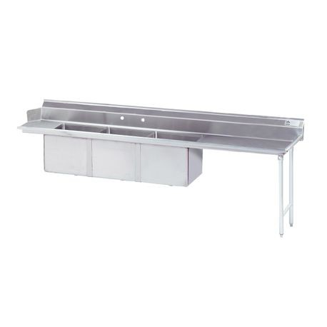 "Advance Tabco DTC-3-1620-96R Dishtable with 3-compartment, Sink, (3) 16"" x 20"" x 12"" bowls, 16 gauge 304 series stainless steel top, stainless steel legs"