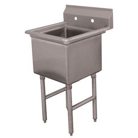 "Advance Tabco FC-1-2424 Fabricated NSF Sink, 1-compartment, no drainboards, bowl size 24"" x 24"" x 14"" deep, 16 gauge 304 series stainless steel, tile edge"
