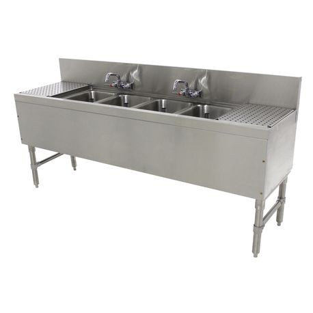 "Advance Tabco PRB-19-64C Prestige Underbar Sink Unit, 4-compartment, 72""W x 20""D x 36""H, 14"" front-to-back x 10"" left-to-right x 10"" deep sink bowls, 12"""
