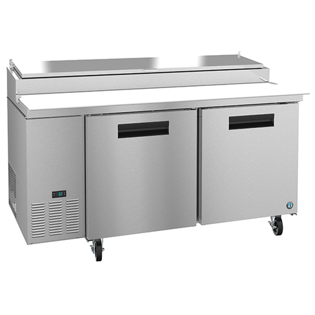 Hoshizaki PR67A Steelheart Series Pizza Prep Table, reach-in, two-section, 19.9 cu. ft., (9) 1/3 pan capacity (pans & adapter bars included)