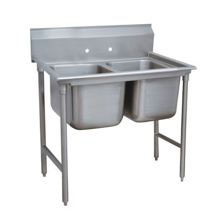 "Advance Tabco 94-42-48 Regaline Sink, 2-compartment, 24"" front-to-back x 24"" wide sink compartment, 14"" deep, with 11"" high splash, stainless steel legs"