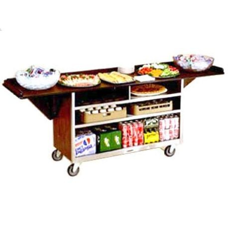 "Lakeside 676 Beverage Service Cart, Drop Leaves, (3) 21"" x 50"" interior shelves, plastic laminated top & leaves, stainless steel base & interior, 5"""