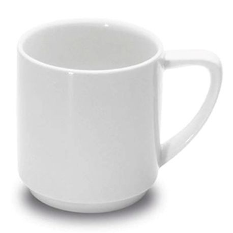 "1100 Stackable Mug, 3"" diameter, 3-1/8"" height, 8-1/4 ounce capacity, white, set of 6 (6 ea/cs), Figgjo 1160HH000"