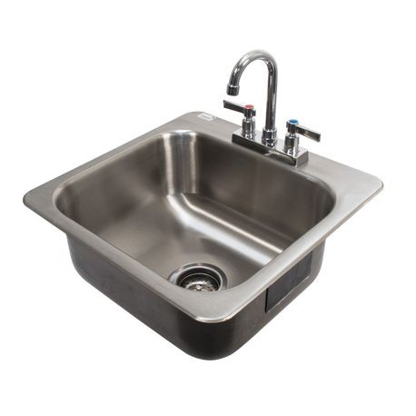 "Advance Tabco DI-1-168 Drop-In Sink, 1-compartment, 16"" wide x 14"" front-to-back, 8"" deep bowl, 18 gauge 304 series stainless steel, with deck mounted"