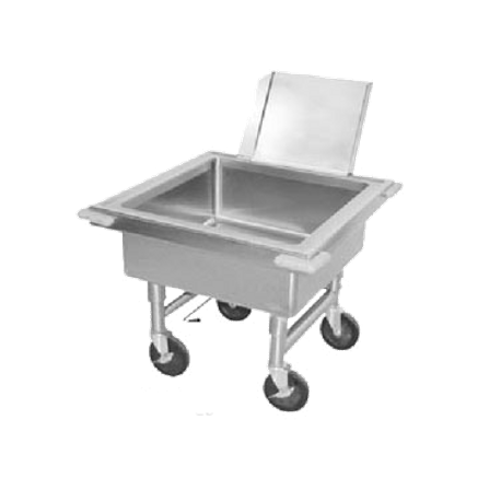 "Advance Tabco 9-FSC-20 Soak Sink, portable, 20"" working height, sink outlet fitted with quick-release drain, 22"" x 22"" x 8"" deep fabricated sink"