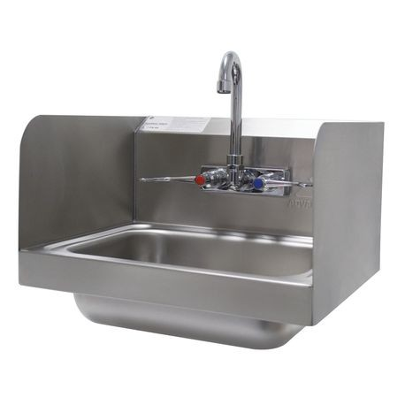 "Advance Tabco 7-PS-66W Hand Sink, wall model, 14"" wide x 10"" front-to-back x 5"" deep bowl, 20 gauge 304 series stainless steel, 7-3/4"" high side splashes"