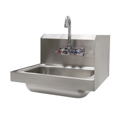 "Advance Tabco 7-PS-66R Hand Sink, wall model, 14"" wide x 10"" front-to-back x 5"" deep bowl, 20 gauge 304 series stainless steel, 7-3/4"" high right side"