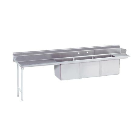 "Advance Tabco DTC-3-1620-96L Dishtable with 3-compartment, Sink, (3) 16"" x 20"" x 12"" bowls, 16 gauge 304 series stainless steel top, stainless steel legs"