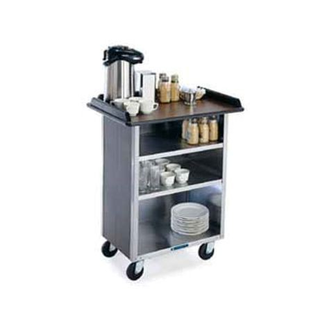 "Lakeside 681 Beverage Service Cart, (3) 21"" x 50"" interior shelves, laminated top, stainless steel base & interior, 5"" swivel no-mark polyurethane"