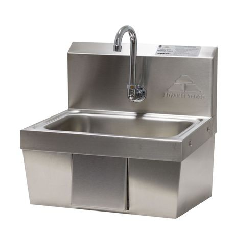 "Advance Tabco 7-PS-44 Hand Sink, wall model, 14"" wide x 10"" front-to-back x 5"" deep bowl, 18 gauge 304 series stainless steel, splash mounted gooseneck"