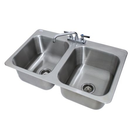 "Advance Tabco DI-2-1410 Drop-In Sink, 2-compartment, 14"" wide x 16"" front-to-back x 10"" deep each/bowl, 18 gauge 304 series stainless steel, deck mounted"