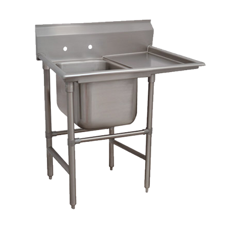 "Advance Tabco 94-81-20-24R Regaline Sink, 1-compartment, with right-hand drainboard, 28"" front-to-back x 20""W sink compartment, 14"" deep, with 11""H"