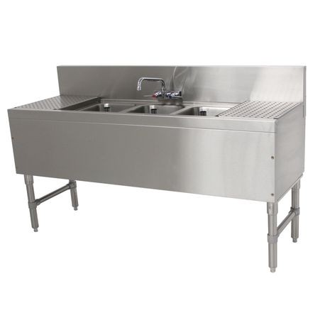 Advance Tabco PRB 19 63C Prestige Underbar Sink Unit, 3 Compartment,