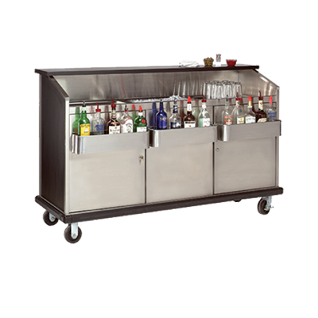 "Advance Tabco AMD-5B Ambassador Portable Bar, 61""W x 23""D x 47""H, stainless steel workboard & ice bin, BK style bottle troughs, stainless steel interior"