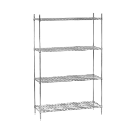 "Advance Tabco ECP-64-X Wire Shelving Post, 64""H, numbered, heavy duty, chrome plated, adjustable feet, NSF"