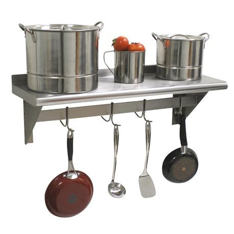 "Advance Tabco PS-18-36 Shelf with Pot Rack, wall-mounted, 36""W x 18""D, 18/430 stainless steel shelf, 2"" x 1/4"" stainless steel pot rack, includes: (6)"