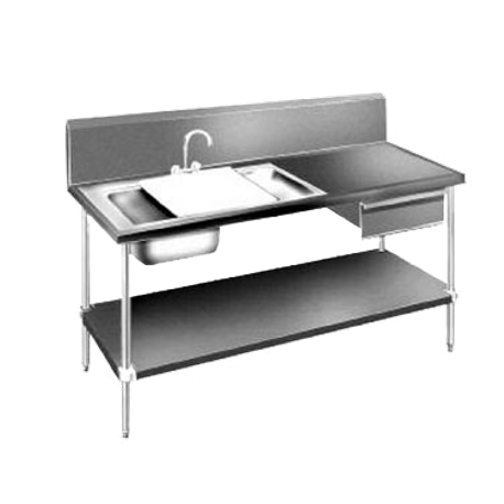 "Advance Tabco DL-30-72 Prep Table Sink Unit, 72""W x 30""D, 14 gauge 304 stainless steel top with (1) 16""W x 20""D x 4"" deep sink bowl & (1) 16""W x 20""D x"