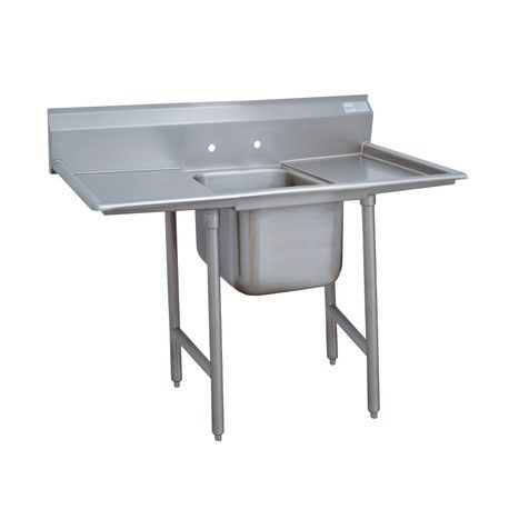 "Advance Tabco 9-81-20-18RL Regaline Sink, 1-compartment, with left & right-hand drainboards, 28"" front-to-back x 20""W sink compartment, 12"" deep, with 8""H"