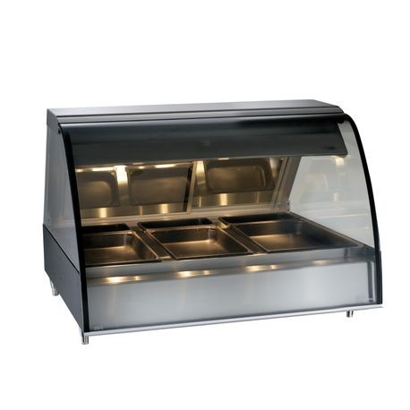 "Alto-Shaam TY2-48/P-BLK Halo Heat Deli Display Case, heated, self-service, countertop, 48"", full length front opening, curved glass, stainless steel"