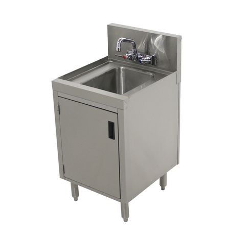 "Advance Tabco PRHSC-19-18 Prestige Hand Sink, floor model, 18"" wide x 19"" front-to-back, 7"" splash, cabinet base with hinged door, stainless steel"