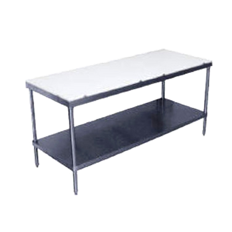 "Advance Tabco SPT-244 Poly-Top Work Table, 48""W x 24""D, 5/8"" thick Poly-Vance top, adjustable stainless steel undershelf, stainless steel legs"